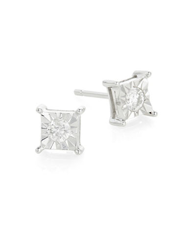 Effy 14K White Gold and 0.20 Total Carat Weight Diamond Square Stud Earrings-DIAMOND-One Size