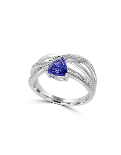Effy 14K White Gold Tanzanite Emerald Ring with 0.15 TCW Diamonds-TANZANITE-7