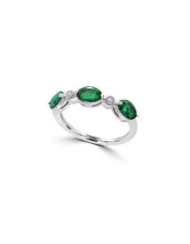 Effy 14K White Gold Triple Emerald Ring with 0.03 TCW Diamonds-EMERALD-7