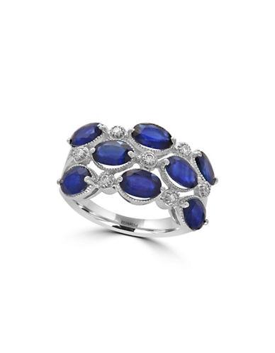 Effy 14K White Gold Sapphire Ring with  0.1 TCW Diamonds-SAPPHIRE-7