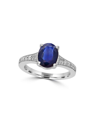 Effy 14K White Gold Sapphire Ring with Channel Set 0.24 TCW Diamonds-SAPPHIRE-7