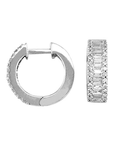 Effy 14K White Gold Diamond Hoop Earrings-WHITE GOLD-One Size