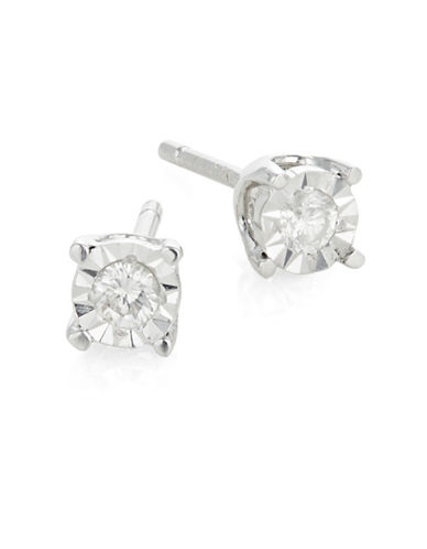 Effy 14K White Gold and 0.10 Total Carat Weight Diamond Stud Earrings-DIAMOND-One Size