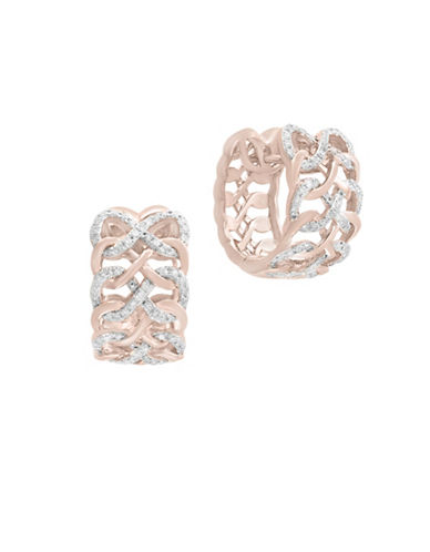 Effy 14K Rose Gold Studded Loop Huggie Hoop Earrings with 0.48 TCW Diamonds-ROSE GOLD-One Size