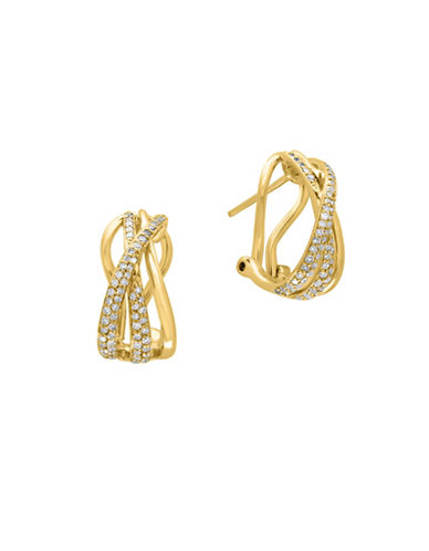 Effy 14K Yellow Gold 0.43TCW Diamond Curved Earrings-DIAMOND-One Size