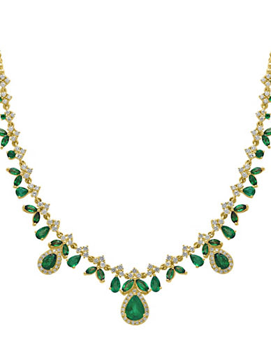 Effy 14K Yellow Gold Emerald and 1.34TCW Diamond Necklace-EMERALD-One Size