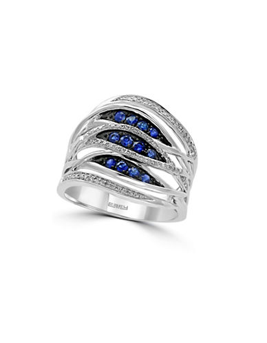Effy 14K White Gold Layered Sapphire Ring with 0.17 TCW Diamonds-SAPPHIRE-7