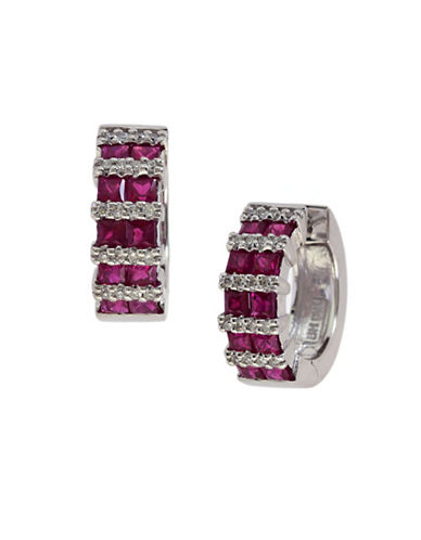 Effy 14K White Gold Ruby Hoop Earrings with 0.2 TCW Diamonds-RUBY-One Size