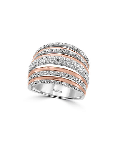 Effy 14K Two-Tone Gold  Stacked Ring with 0.79 TCW Diamonds-DIAMOND-7