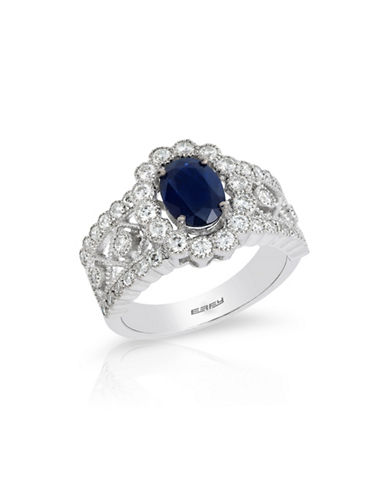Effy 14K White Gold Sapphire Ring with 0.85 TCW Diamonds-SAPPHIRE-7
