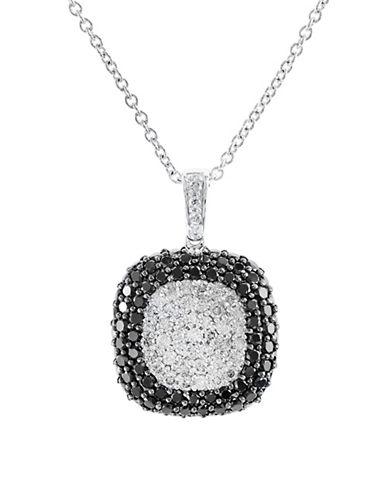Effy 14K White Gold Black and White Diamond Pendant Necklace-BLACK-One Size