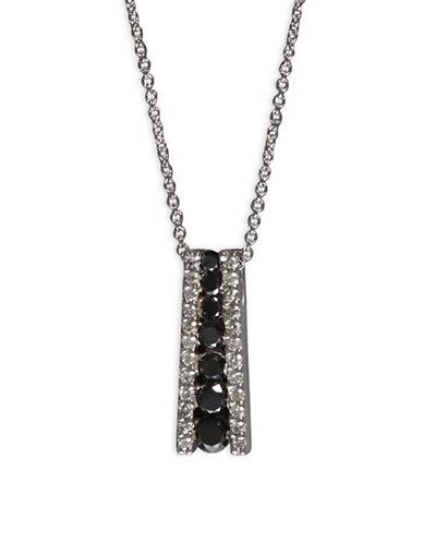 Effy 0.58 TCW Two-Tone Linear Diamond, 14K White Gold Necklace-BLACK-One Size