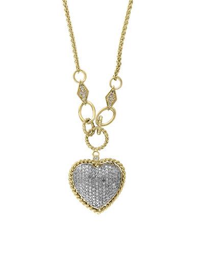 Effy 0.73 TCW Diamond 14K White and Yellow Gold Heart Necklace-DIAMOND-One Size