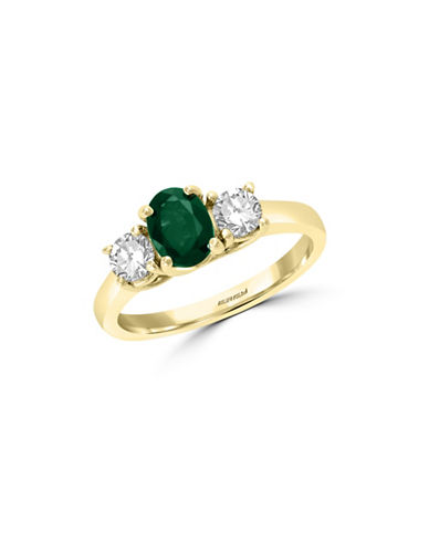 Effy Natural Emerald and White Sapphire 14K Yellow Gold Ring-EMERALD-7