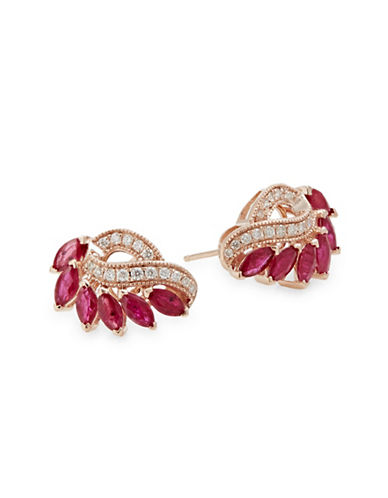 Effy 14K Rose Gold Earrings with Ruby and 0.22 TCW Diamonds-RED-One Size
