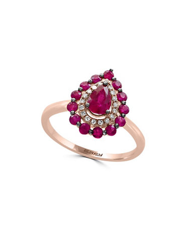 Effy Ruby, 14K Rose Gold and 0.07 TCW Diamond Ring-RUBY-7