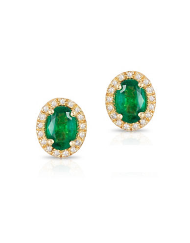 Effy 14K Yellow Gold Emerald Earrings with 0.013 TCW Diamonds-EMERALD-One Size