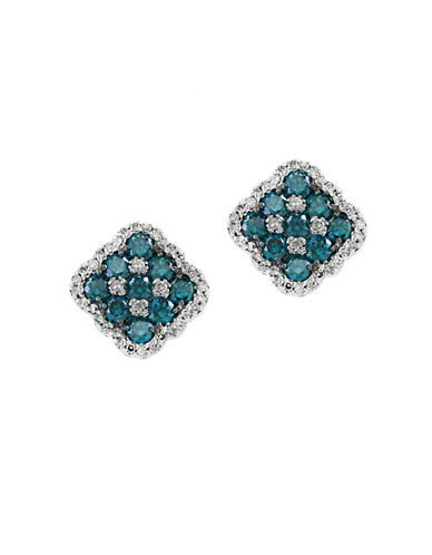 Effy 14K White Gold White and Blue Diamond Earrings-BLUE-One Size