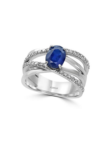 Effy 14K White Gold Marquise Sapphire Ring with 0.35 TCW Diamonds-SAPPHIRE-7