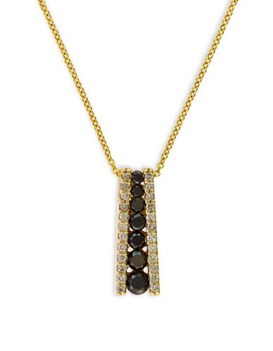 Effy 0.58 TCW Two-Tone Linear Diamond, 14K Yellow Gold Necklace-BLACK-One Size