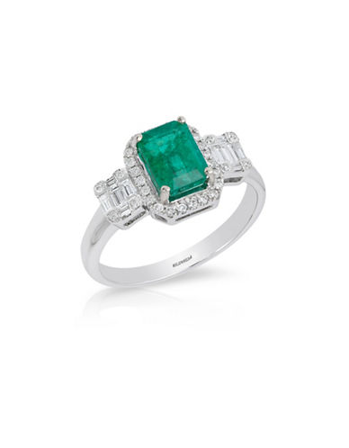 Effy 14K White Gold Emerald Ring with 0.37 TCW Diamonds-EMERALD-7