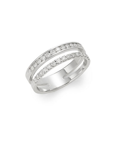 Effy 14K White Gold and 0.49TCW Diamond Double Band Ring-DIAMOND-7
