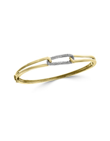 Effy 14K White Gold, 14K Yellow Gold and 0.27 TCW Diamond Bangle Bracelet-DIAMOND-One Size