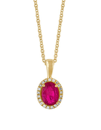 Effy 0.08TCW Diamonds, Natural Ruby and 14K Yellow Gold Pendant Necklace-RUBY-One Size