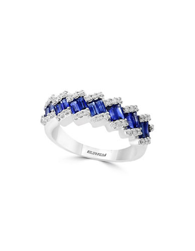 Effy 14K White Gold and Sapphire Ring with 0.23 TCW Diamonds-BLUE-7