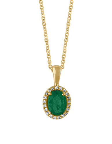 Effy 14K Gold Emerald Pendant Necklace with 0.08 TCW Diamonds-EMERALD-One Size