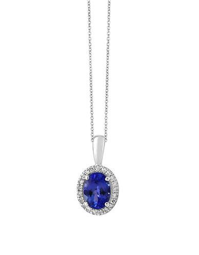 Effy 14K White Gold Tanzanite and 0.08TCW Diamond Pendant Necklace-TANZANITE-One Size