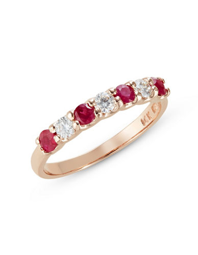 Effy 14K Yellow Gold Emerald Ring with 0.24TCW Diamonds-RUBY-7