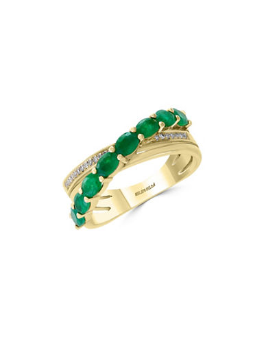 Effy 0.06 TCW Diamond, Natural Emerald and 14K Yellow Gold Ring-EMERALD-7