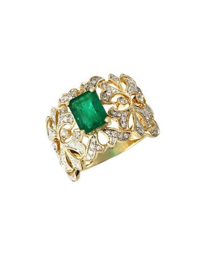 Effy 14K Yellow Gold  Diamond And Emerald Ring-DIAMOND/EMERALD-7