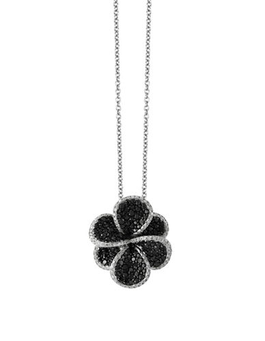 Effy 1.98 TCW Black and White Diamond Studded 14K White Gold Floral Pendant Necklace-BLACK-One Size