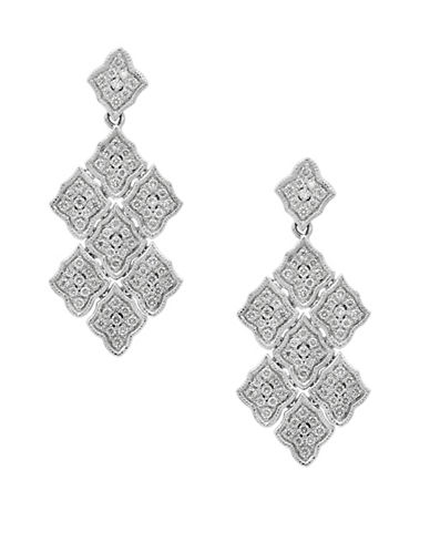 Effy Pave Classica 14K White Gold and 0.39TCW Diamonds Drop Earrings-DIAMOND-One Size