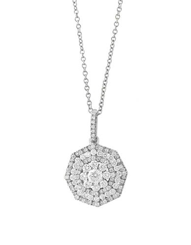 Effy 14K White Gold and 0.84 TCW Diamond Medallion Pendant Necklace-DIAMOND-One Size