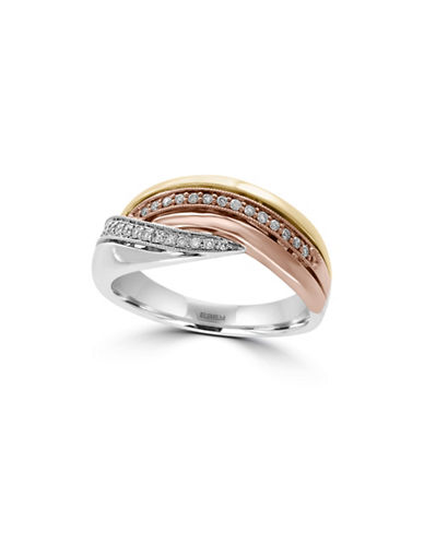 Effy Trio 14K Tri-Tone Gold and 0.16TCW Diamond Multi-Band Ring-DIAMOND-7