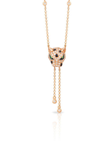 Effy 14K Rose Gold Tiger Pendant Necklace with 0.35 TCW Diamond-DIAMOND-One Size