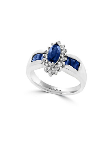 Effy 0.20 TCW Diamond, Sapphire and 14K White Gold Ring-BLUE-7