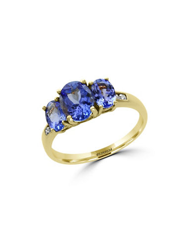 Effy 0.07 TCW Diamond, Tanzanite and 14K Yellow Gold Ring-TANZANITE-7