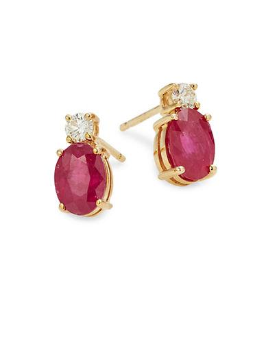Effy 14K Yellow Gold Ruby Earrings with 0.016 TCW Diamonds-RUBY-One Size