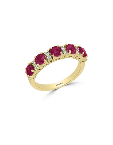 Effy Ruby and 0.18 TCW Diamonds 14K Yellow Gold Ring-RUBY-7