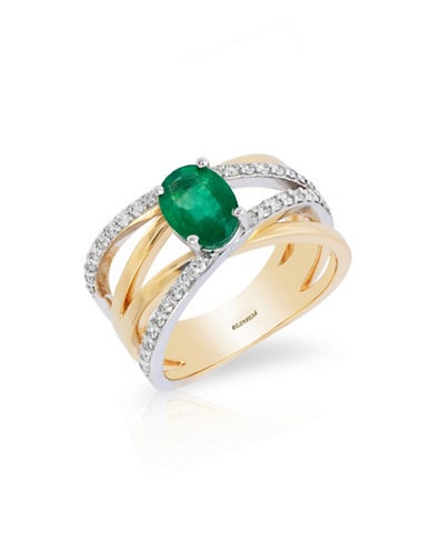 Effy 14K White and Yellow Gold Natural Emerald Ring with 0.35TCW Diamonds-EMERALD-7