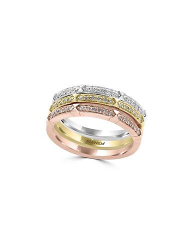 Effy 14K White Gold, 14K Yellow Gold, 14K Rose Gold and 0.26 TCW Diamond Three-Ring Stack Set-TRI TONE-7