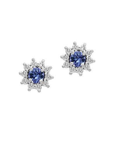 Effy 14K White Gold Tanzanite and 0.25TCW Diamond Stud Earrings-TANZANITE-One Size