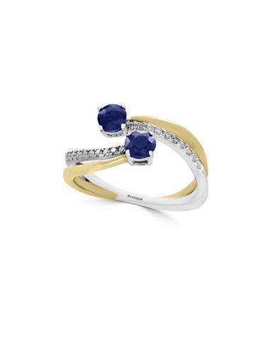 Effy Sapphire, 14K White Gold, 14K Yellow Gold and 0.21 TCW Diamond Bypass Ring-SAPPHIRE-7