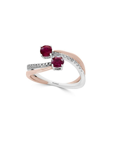 Effy Ruby, 14K White Gold, 14K Rose Gold and 0.14 TCW Diamond Bypass Ring-RUBY-7