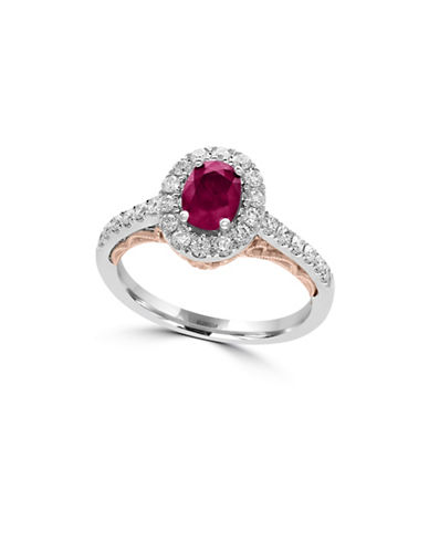 Effy 14K White and Rose Gold Ruby Ring with 0.5 TCW Diamond-RUBY-7