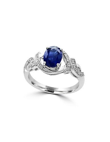 Effy Royale Bleu 14K White Gold Sapphire and 0.09TCW Diamond Ring-SAPPHIRE-7